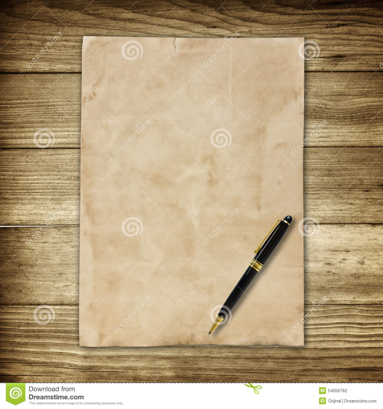 Old Brown Paper And Pen On Wooden Wall Background For Texture