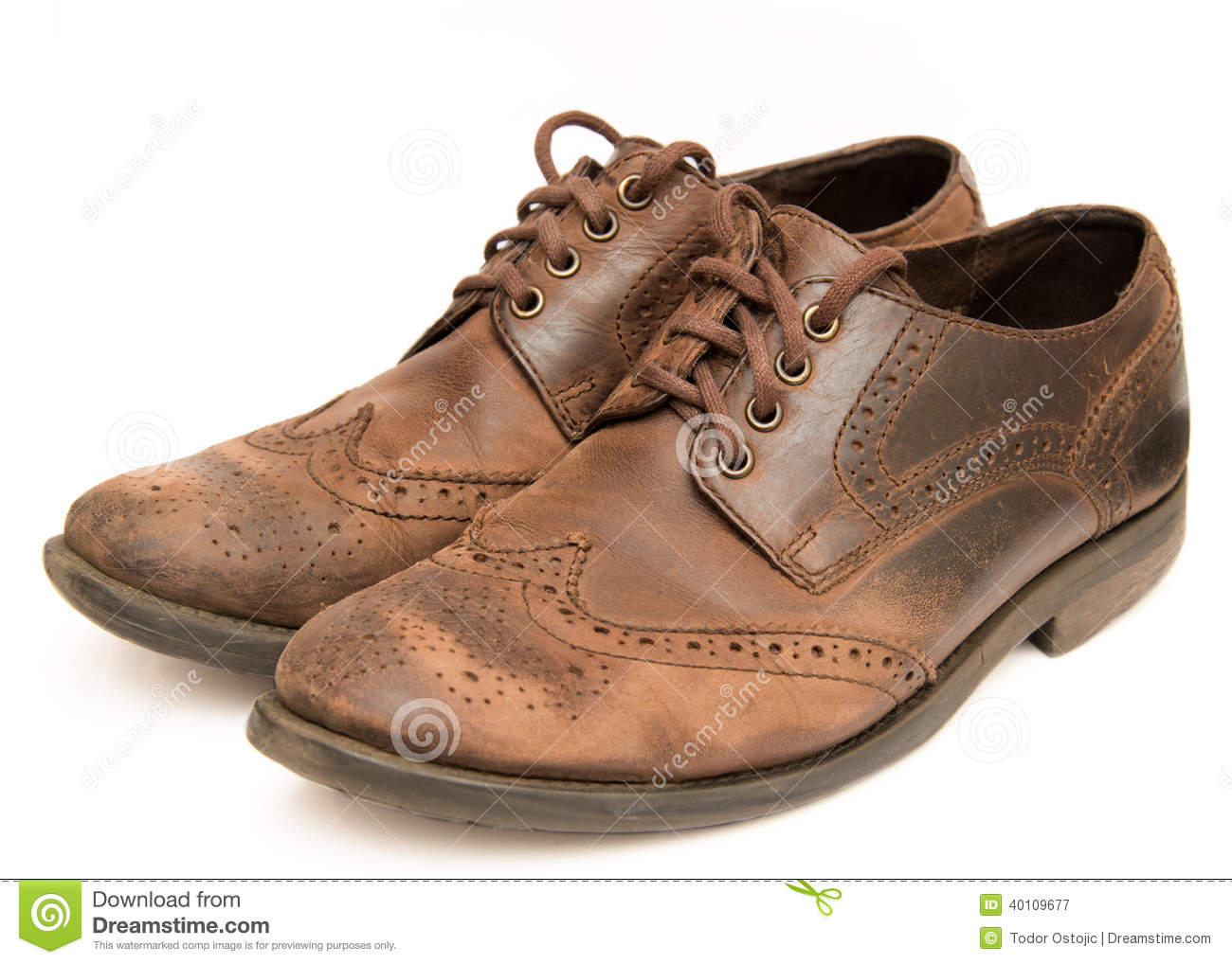 Worn Leather Shoes In Rain