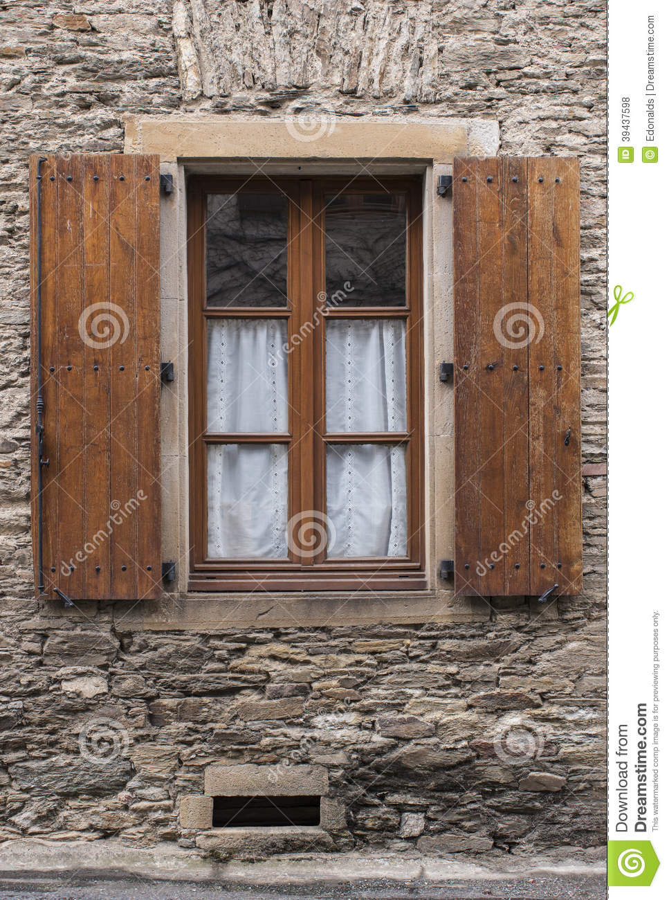 Brown Wooden Shutters : Old brown shutters stock photo image