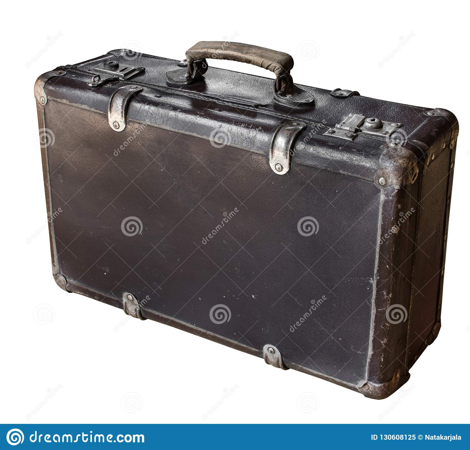 Old brown suitcase isolated on white background. Retro style. Copy space