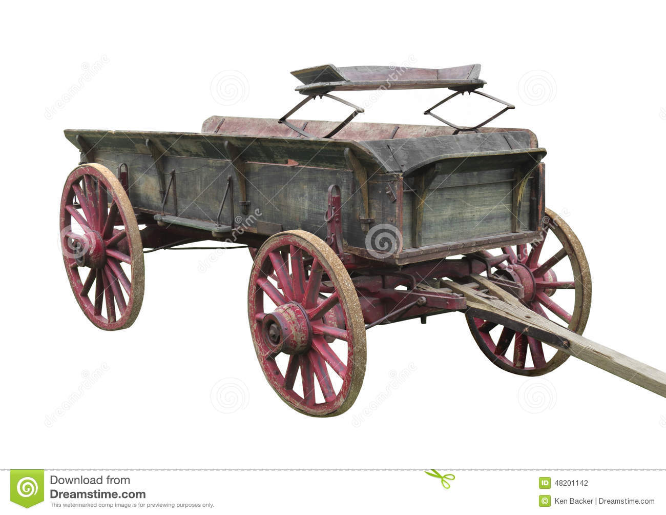 Old buckboard wagon isolated.