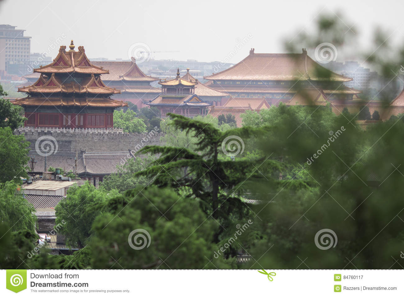 Photo of Old Buddhism Temple with Green Trees on Foreground. Red Asian  Pagoda Towers. Ancient Architecture Asian Temples