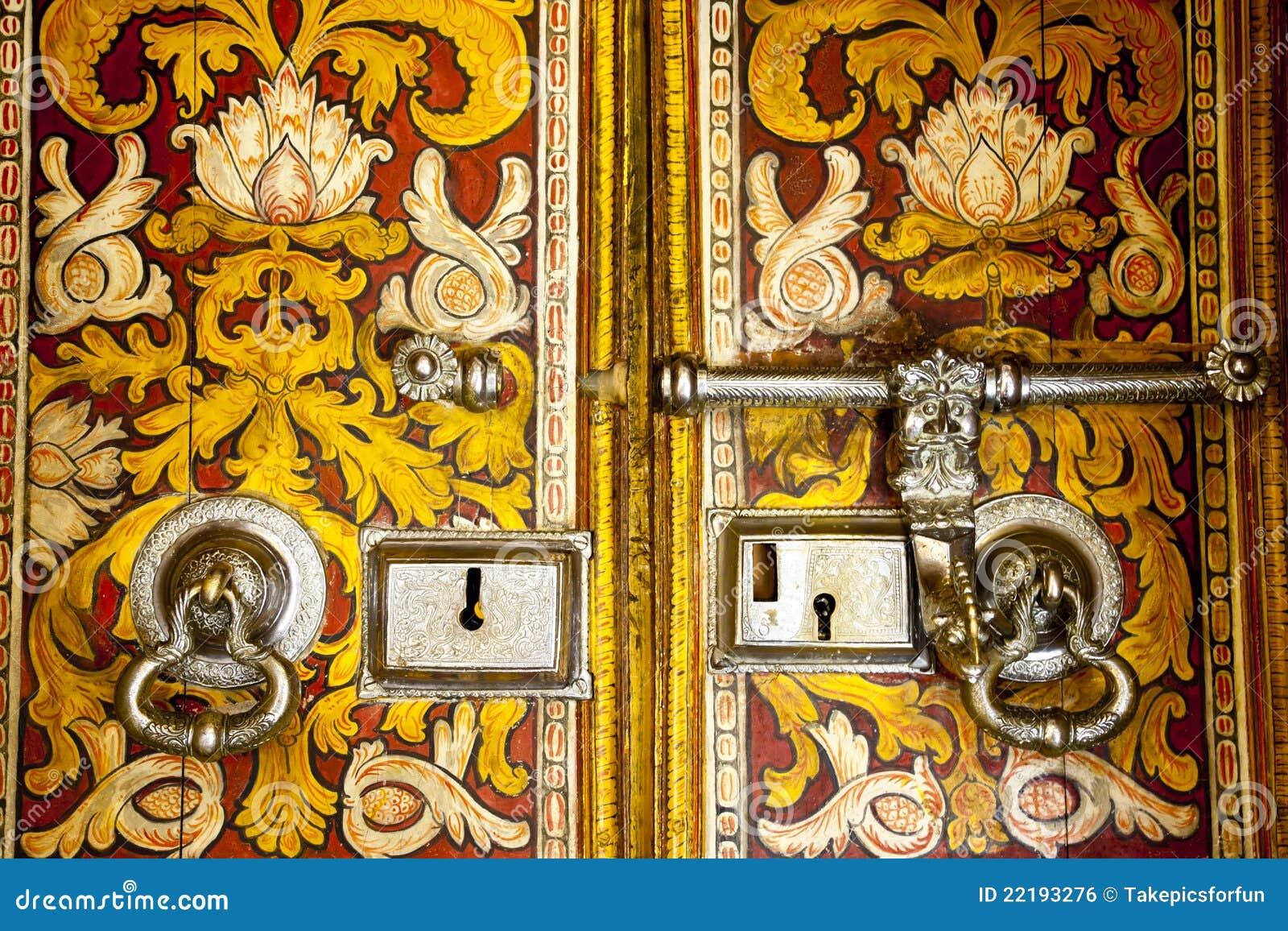 Old Buddhist Temple Door In Sri Lanka Royalty Free Stock