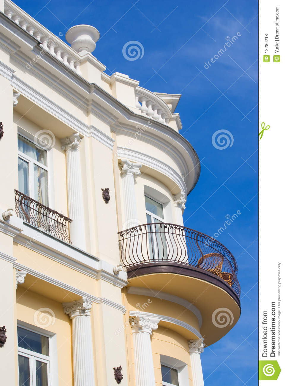 Old building with balcony stock photo image of clouds for Building balcony