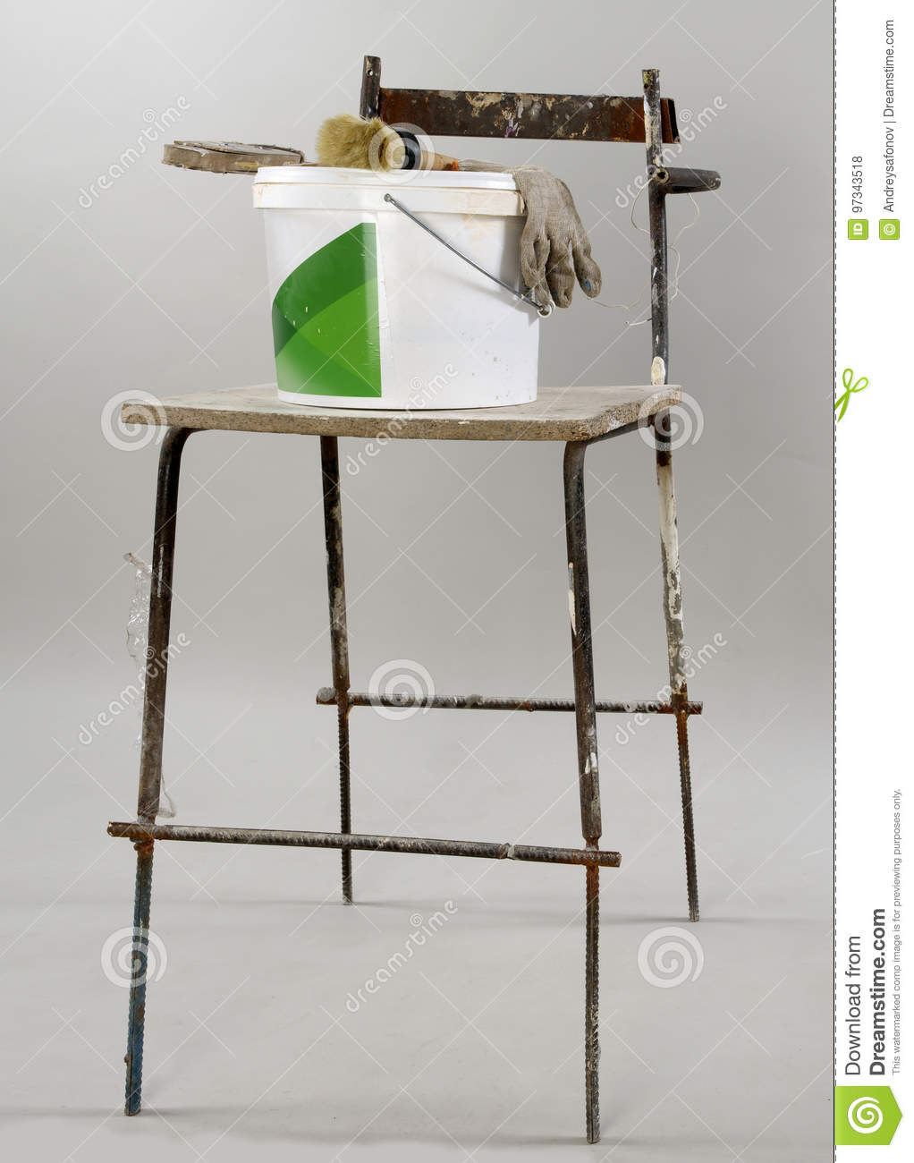 Strange Old Building Chair And A Bucket Of Paint And A Brush And Lamtechconsult Wood Chair Design Ideas Lamtechconsultcom