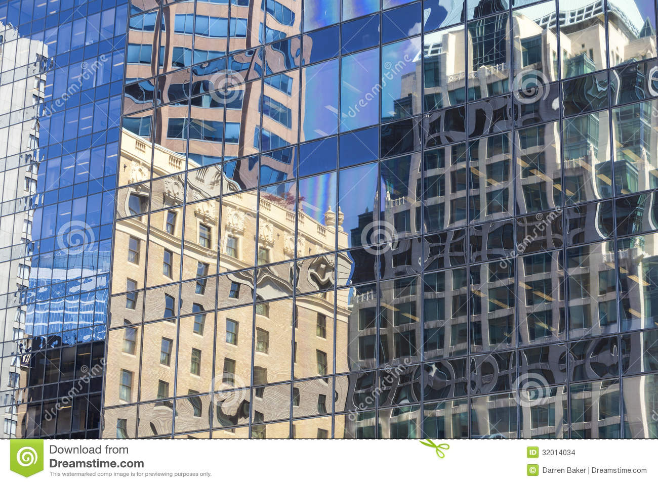 city building windows. Old Building Reflections In Windows Of Modern Office In Of Stock Photo
