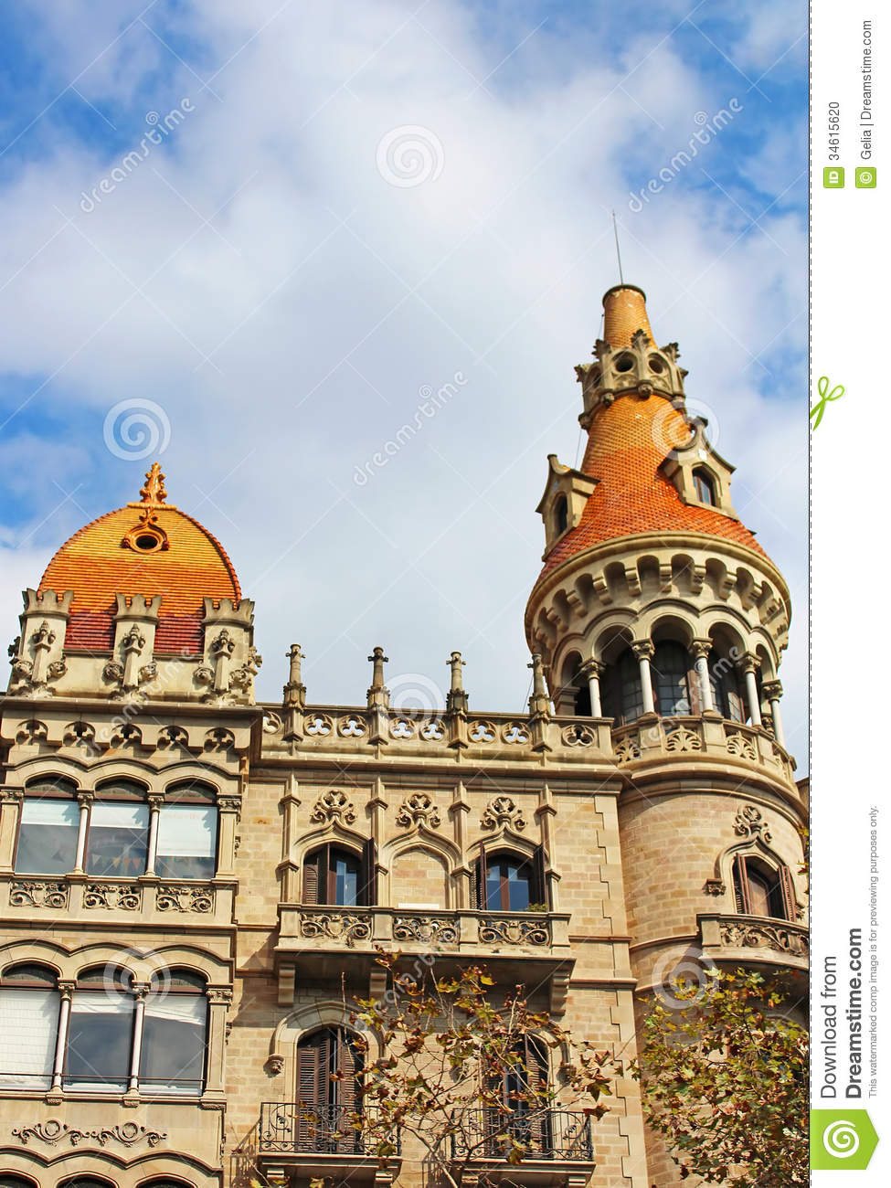 Old Buildings Facades In Barcelona Stock Photo Image