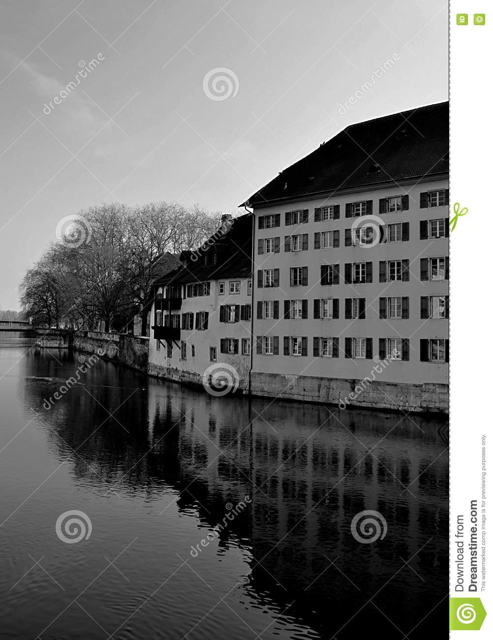 Old buildings reflecting in the river Aare in Solothurn - Switzerland