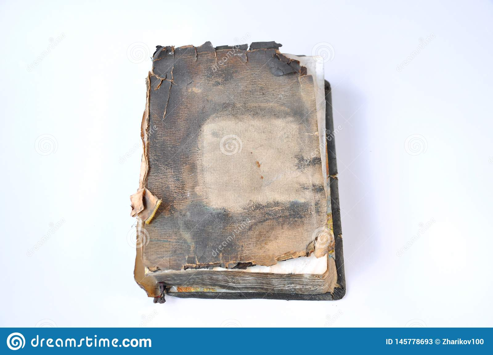 Old burnt bible book