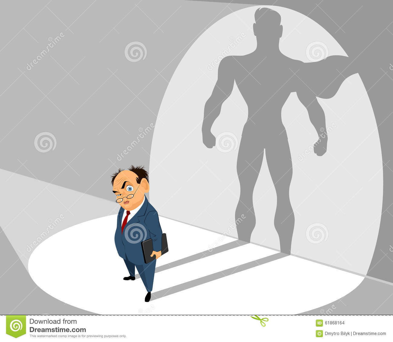 Old businessman and him silhouette