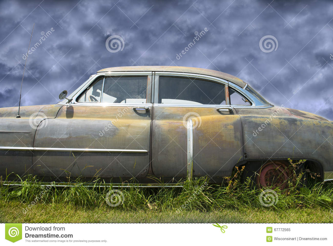 Old Cadillac, Rusty Vintage Car Stock Image - Image of rusty, rusts ...