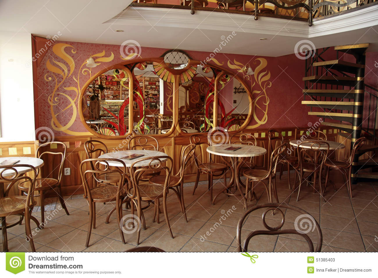 old cafe interior in typical viennese style bratislava editorial stock photo image 51385403. Black Bedroom Furniture Sets. Home Design Ideas