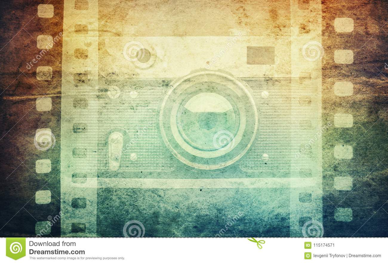 Old Camera And Blank Film Strip On Vintage Paper Background. Vin ...