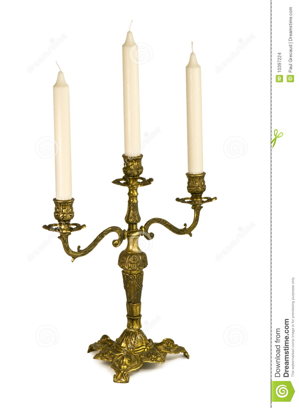 Candlestick with three candles isolated on white.