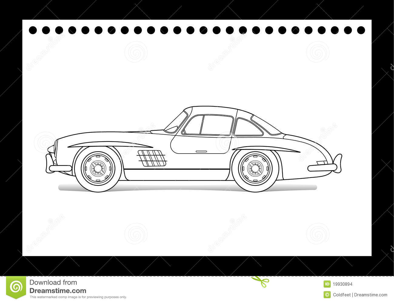 Old car drawing stock vector. Illustration of fast, wheel - 19930894