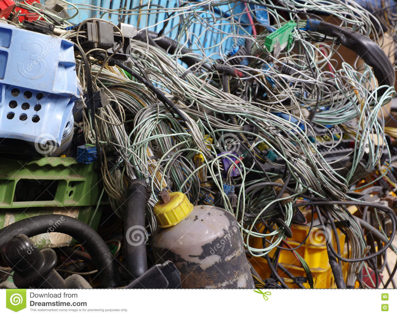 Old Car Electric Wiring Set Recycling Stock Photo - Image of block ...