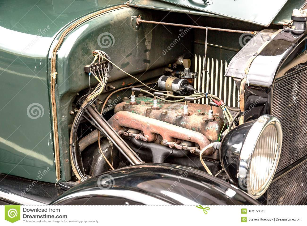 Old Car engine stock image. Image of glass, green, retro - 103158819