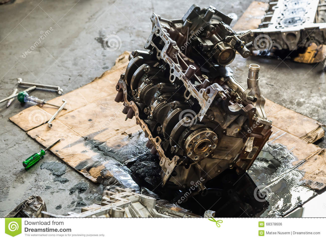 Old Car Engine Under Repair Stock Photo - Image of flange ...