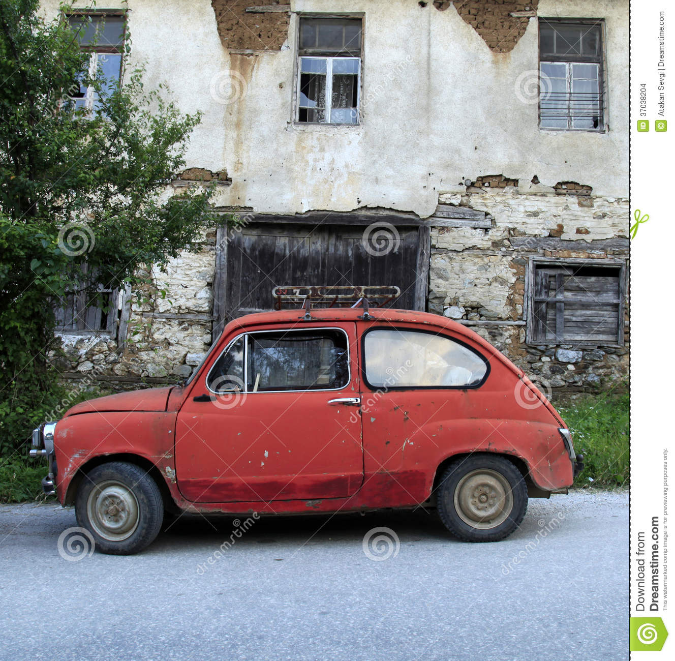 Stock Images Old Car Front Old House Small Macedonia Image37038204 on Small Retro House Plans
