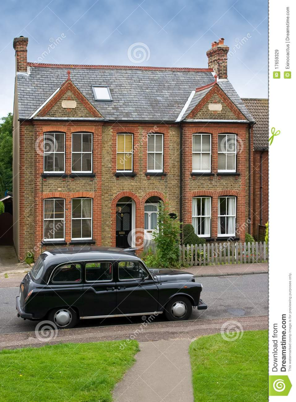 Old car in front of a typical house in harlow uk royalty for Classic house fronts