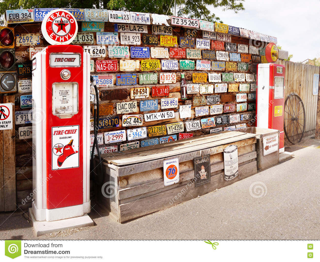 American Old Historical Car License Plates And Gas Station