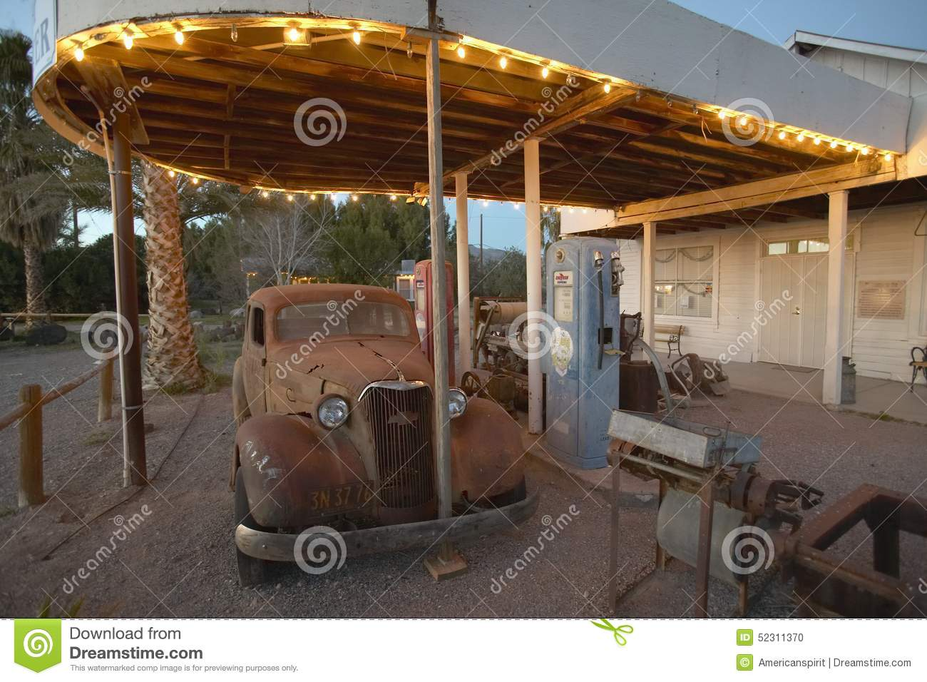 An old car at an old antique gas station in california for West valley motor vehicle