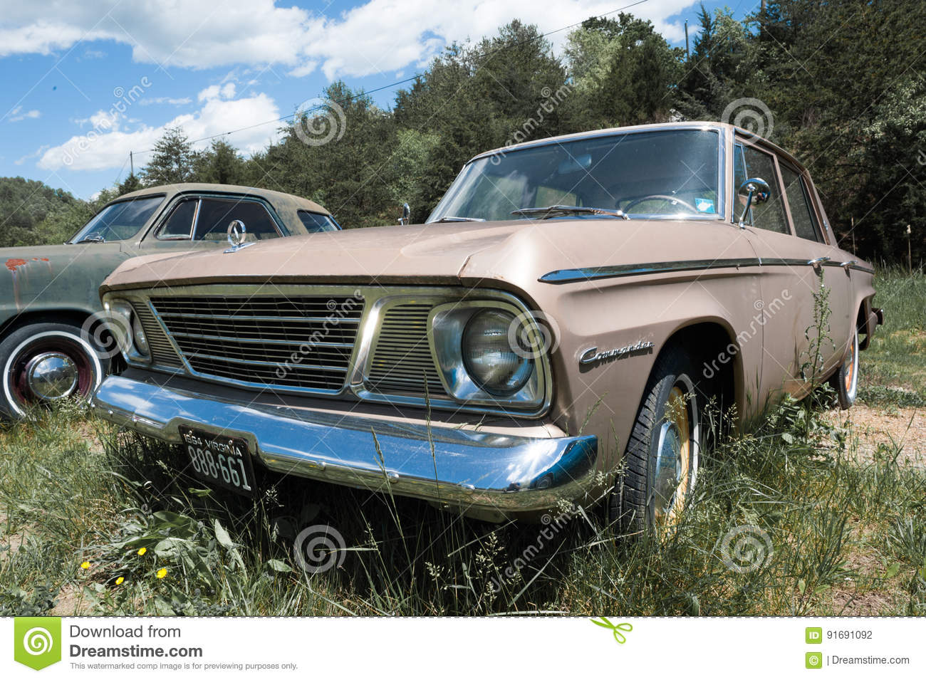 Old American Car Parked On Side Of Road Editorial Image