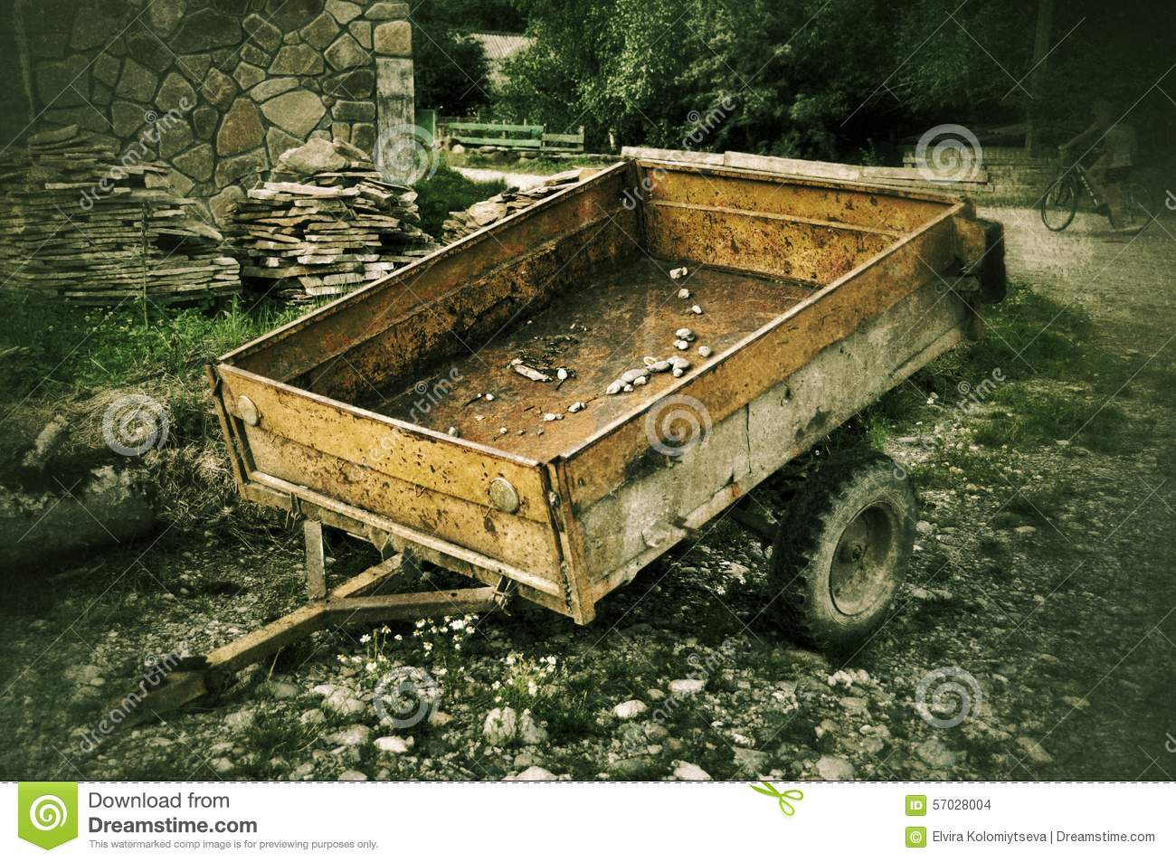 Old Car Trailer In Russian Village Stock Photo - Image ...