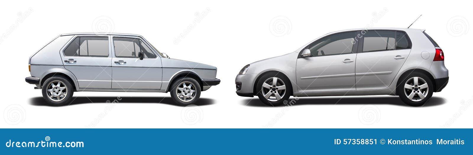 old car vs new car stock image image of side view hatchback 57358851. Black Bedroom Furniture Sets. Home Design Ideas