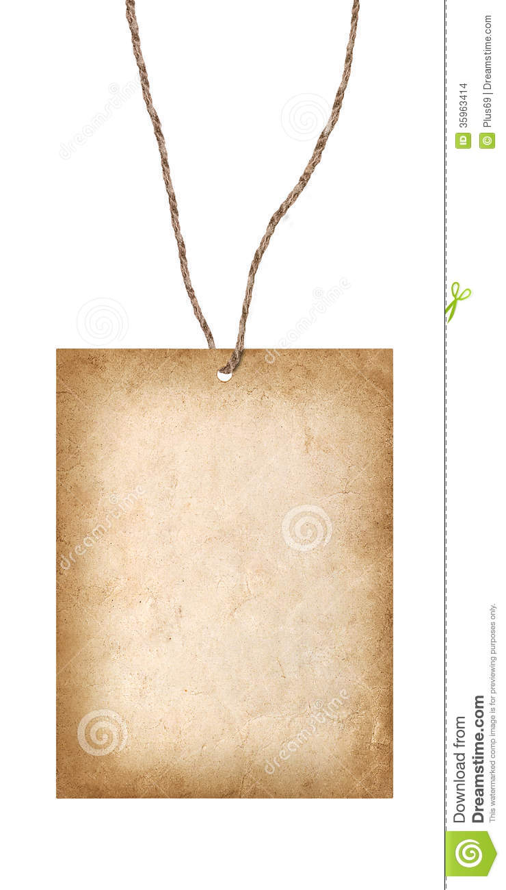 old cardboard card hanging on a string stock images