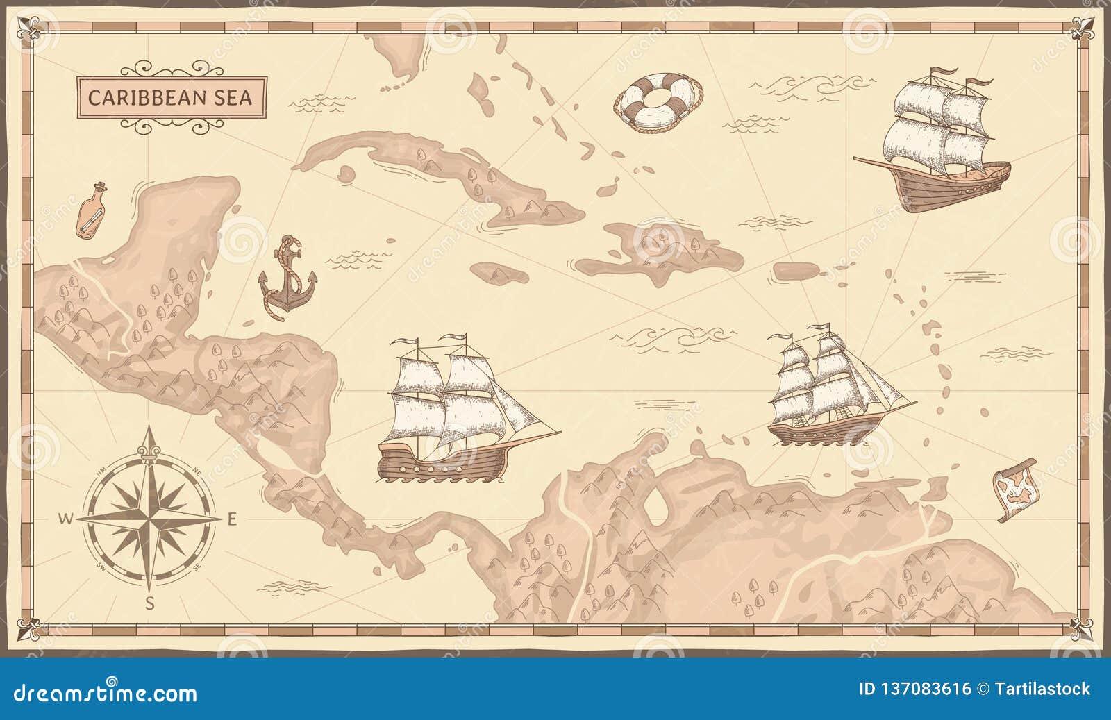 Old Caribbean Sea Map. Ancient Pirate Routes, Fantasy Sea Pirates ...