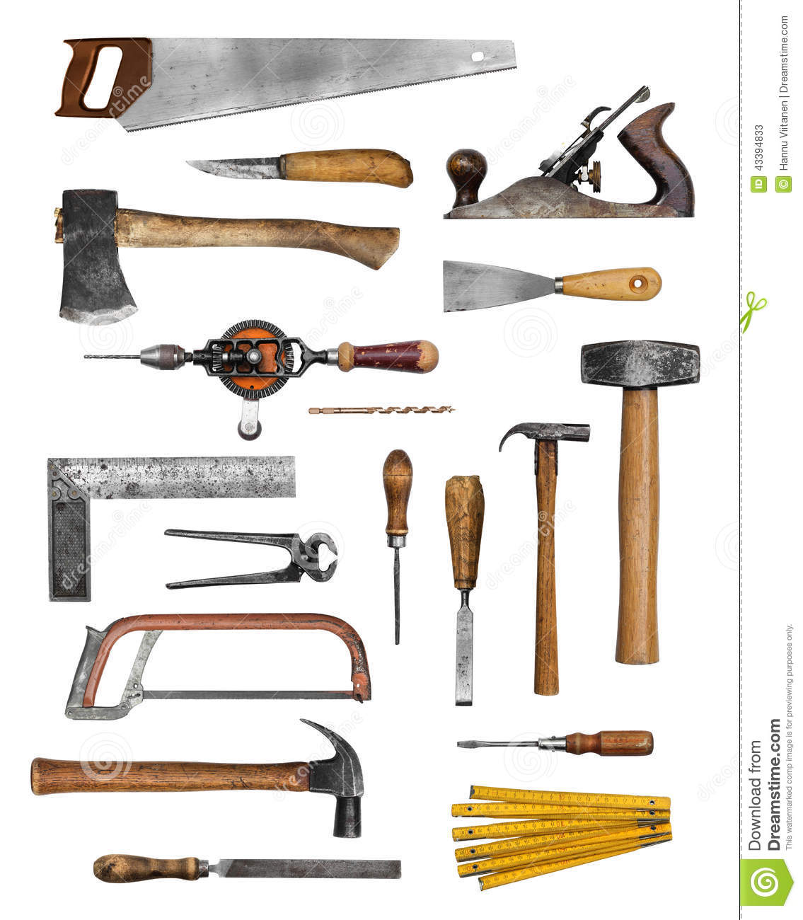 Old carpenter hand tools stock image Image of drill