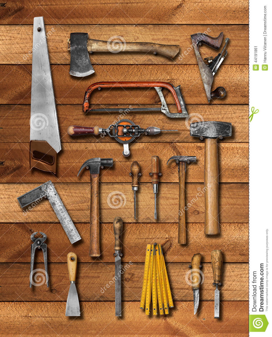Old Carpenter Hand Tools On Wood Stock Image Image Of Chisel