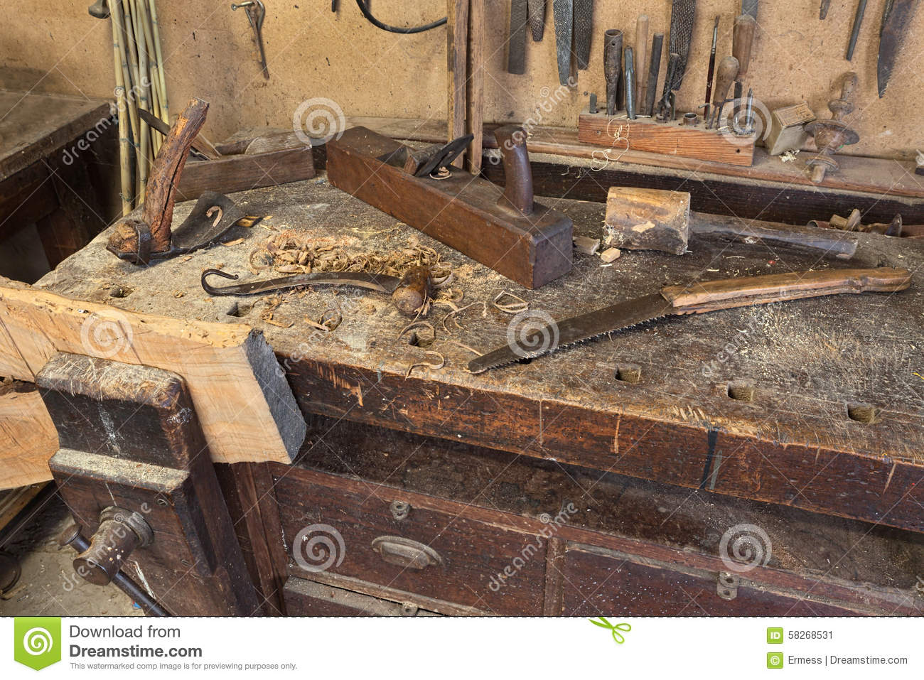 Old carpenter's bench stock image. Image of craft, tool - 58268531