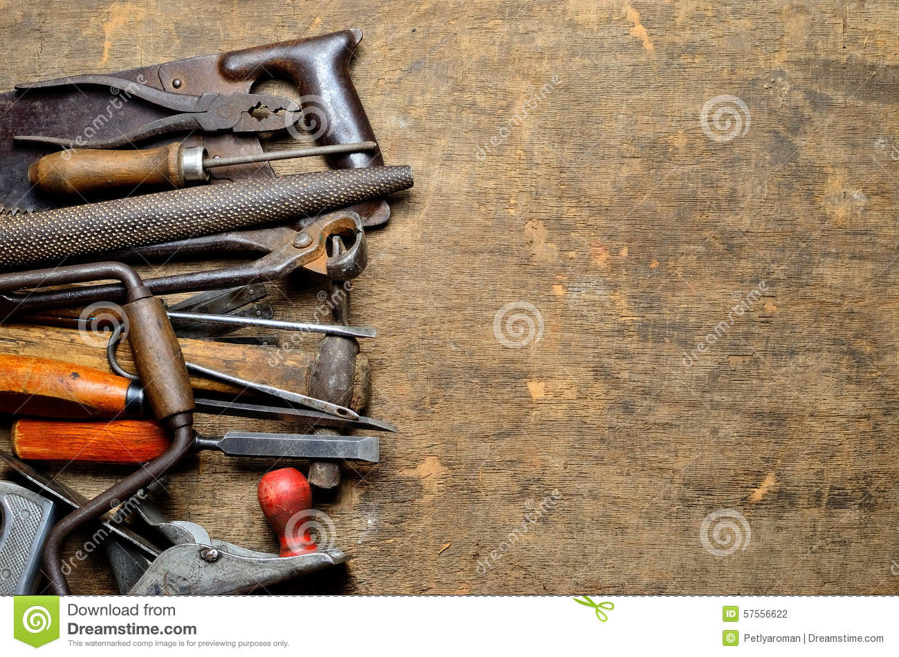 Old Carpenter S Tools For Working With Wood Stock Photo Image Of