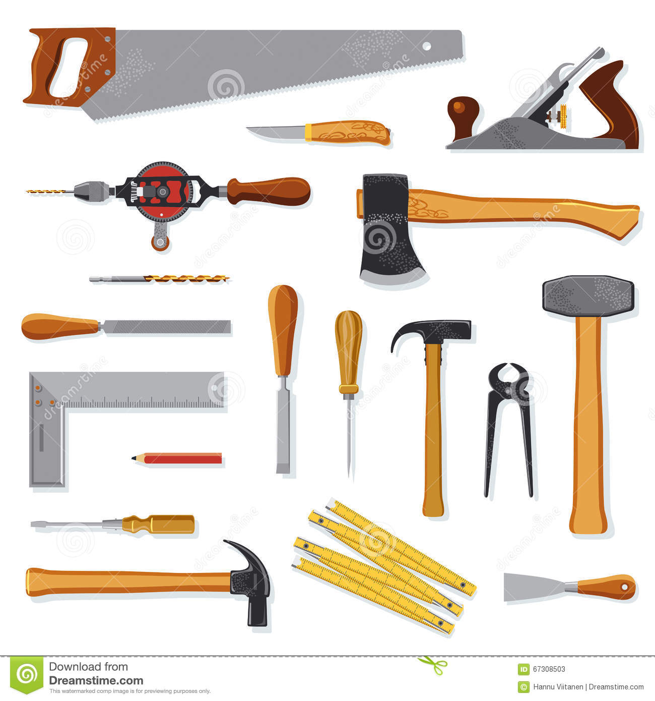 Tools Of Carpenter - Vector Cartoon Vector | CartoonDealer.com #8109857