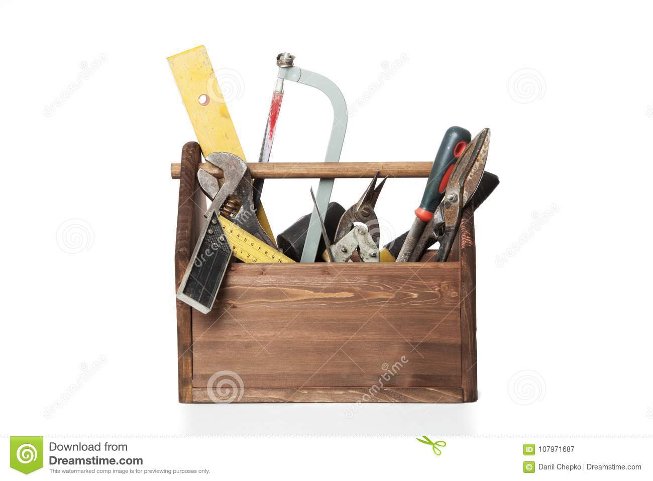 Old Carpenter Wooden toolbox with tools isolated on white