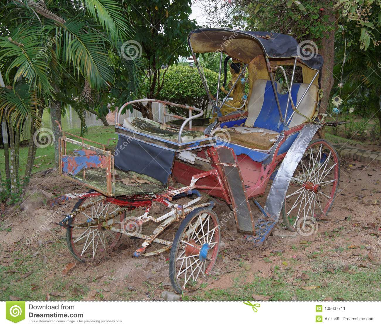 Old Carriage In An Abandoned Garden.Thailand Stock Image