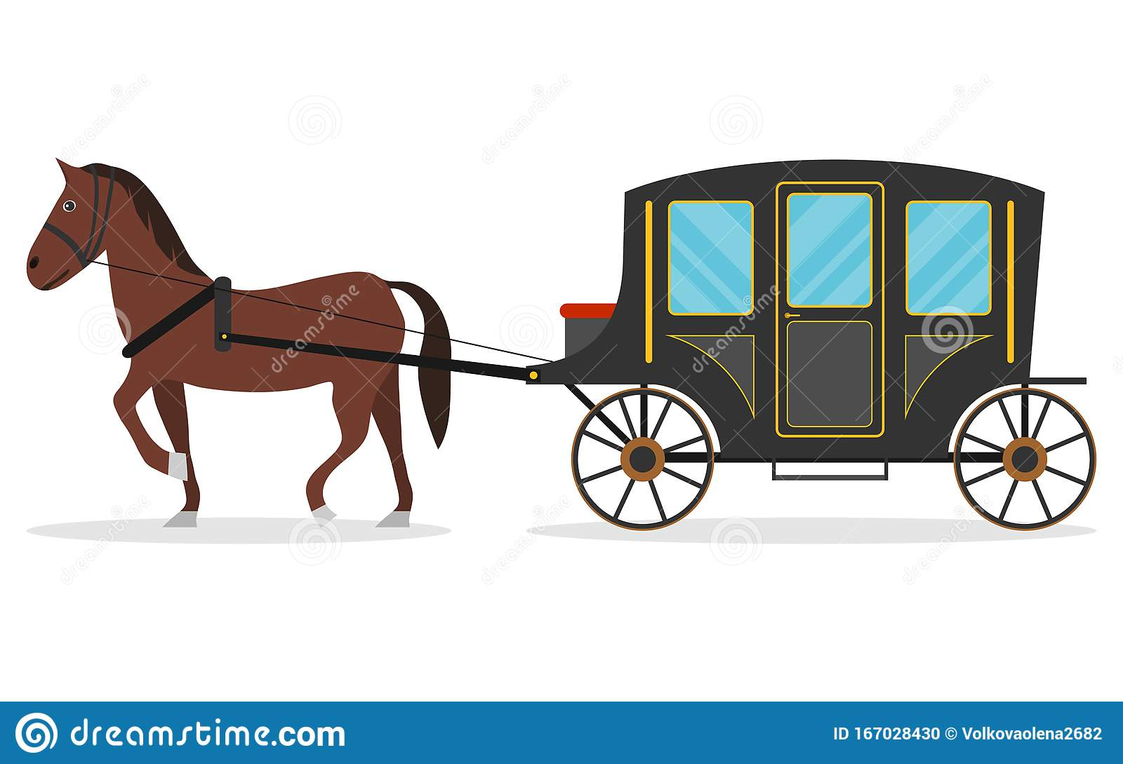 Old Carriage With A Horse A Horse Pulls A Carriage Behind Him Vector Illustration Stock Illustration Illustration Of Hansom Design 167028430