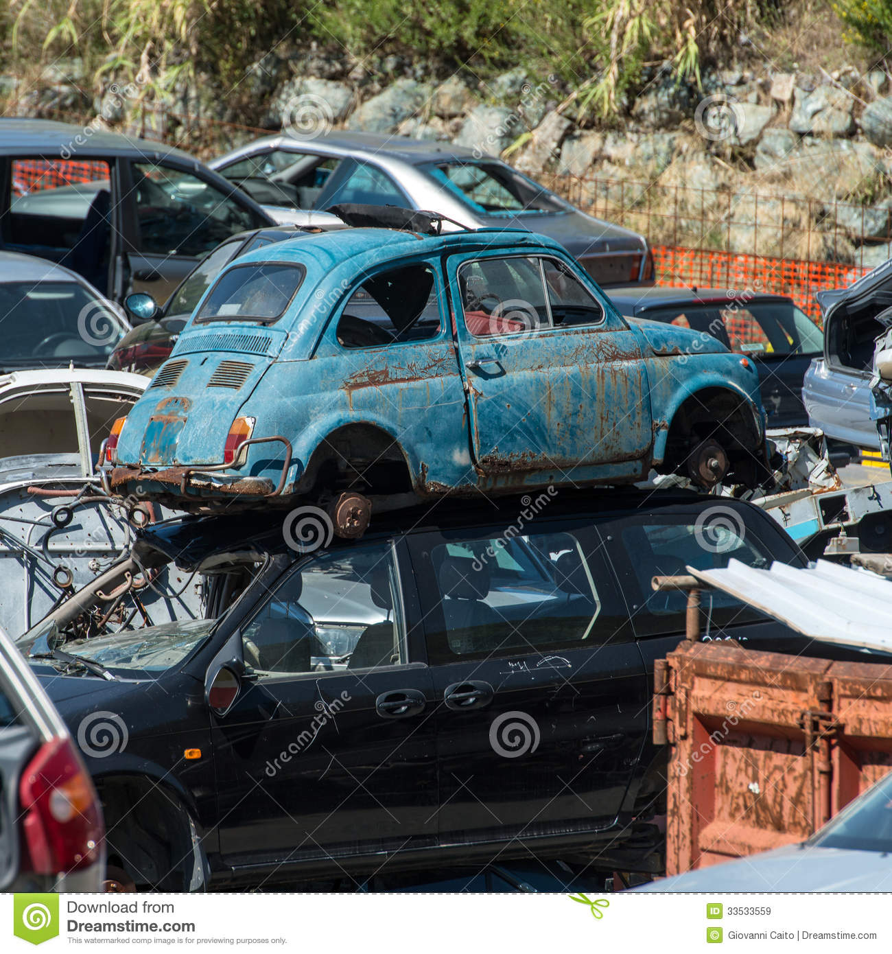 Old Cars In The Junkyard Stock Image. Image Of Junk, Spare