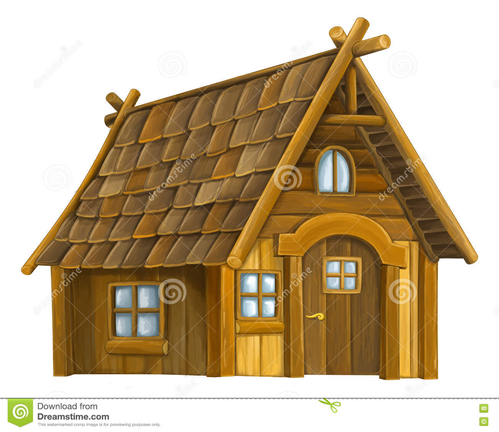 Old Cartoon Wooden House - Stock Illustration - Image: 71911463