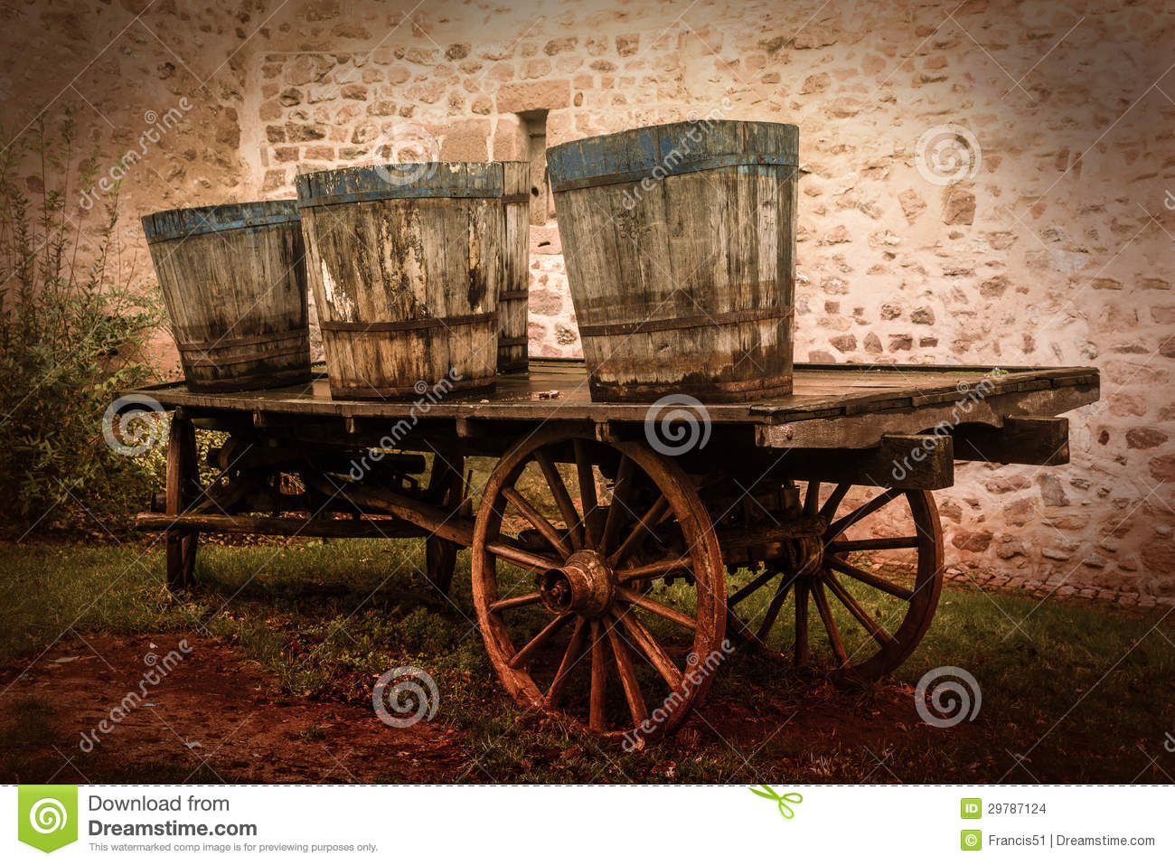Old Carts Stock Photo. Image Of Bucket, Wooden, Idyll