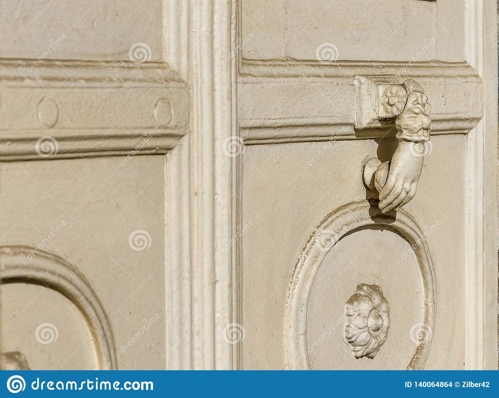 Ancient Door Knocker Isolated On White Background. Stock ... |White Door Knocker