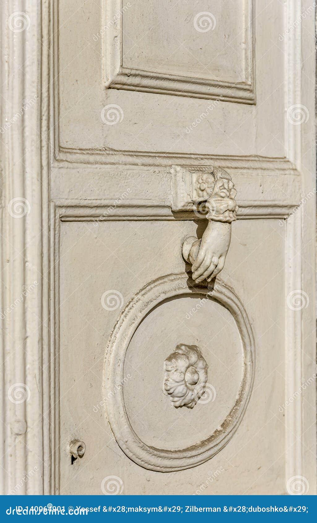 Old Palace White Wooden Door And White Metal Knocker Stock ... |White Door Knocker