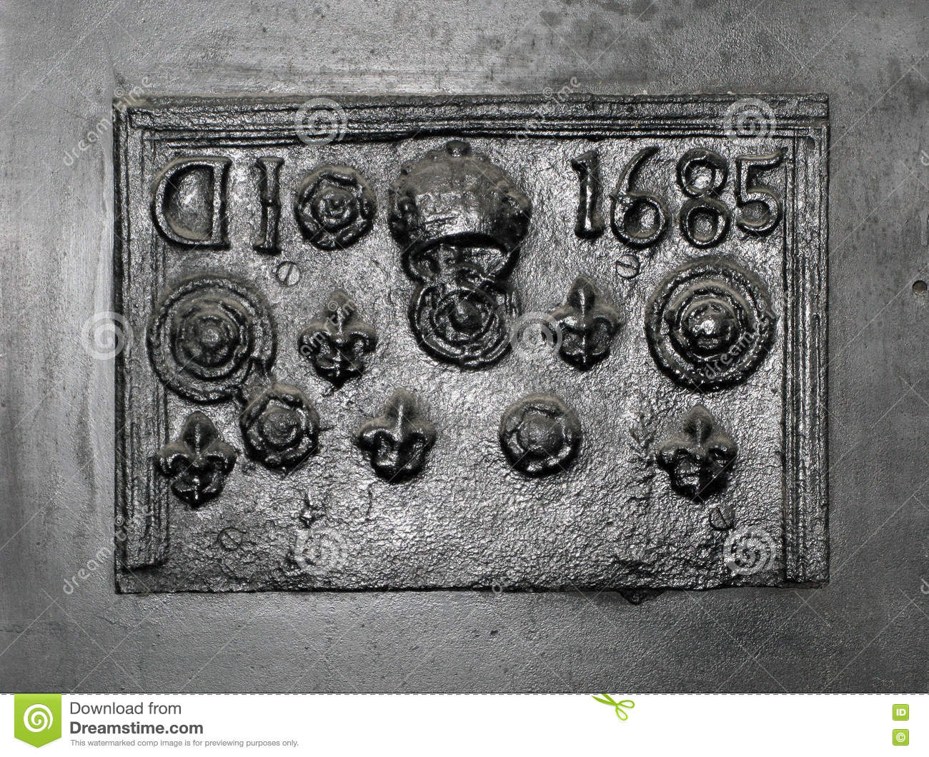 Old Cast Iron Fireplace Back Plate. Stock Photo - Image: 61831362