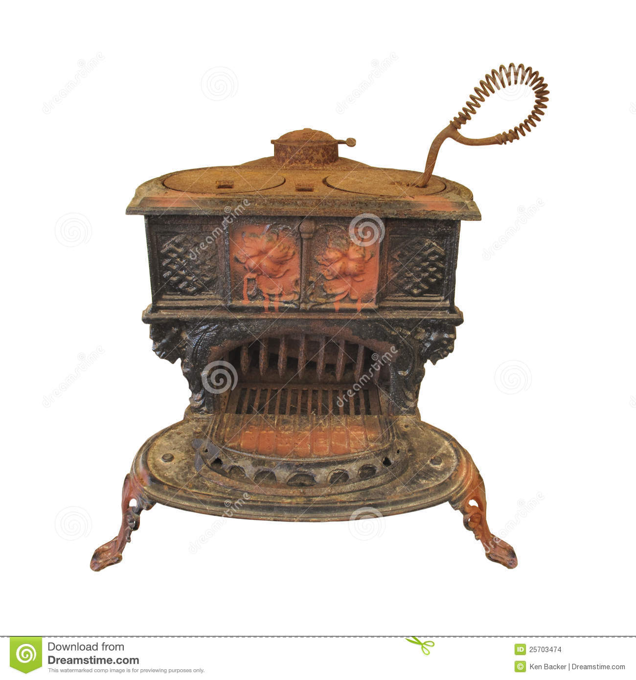 Old Cast Iron Wood Cook Stove Isolated Stock Images