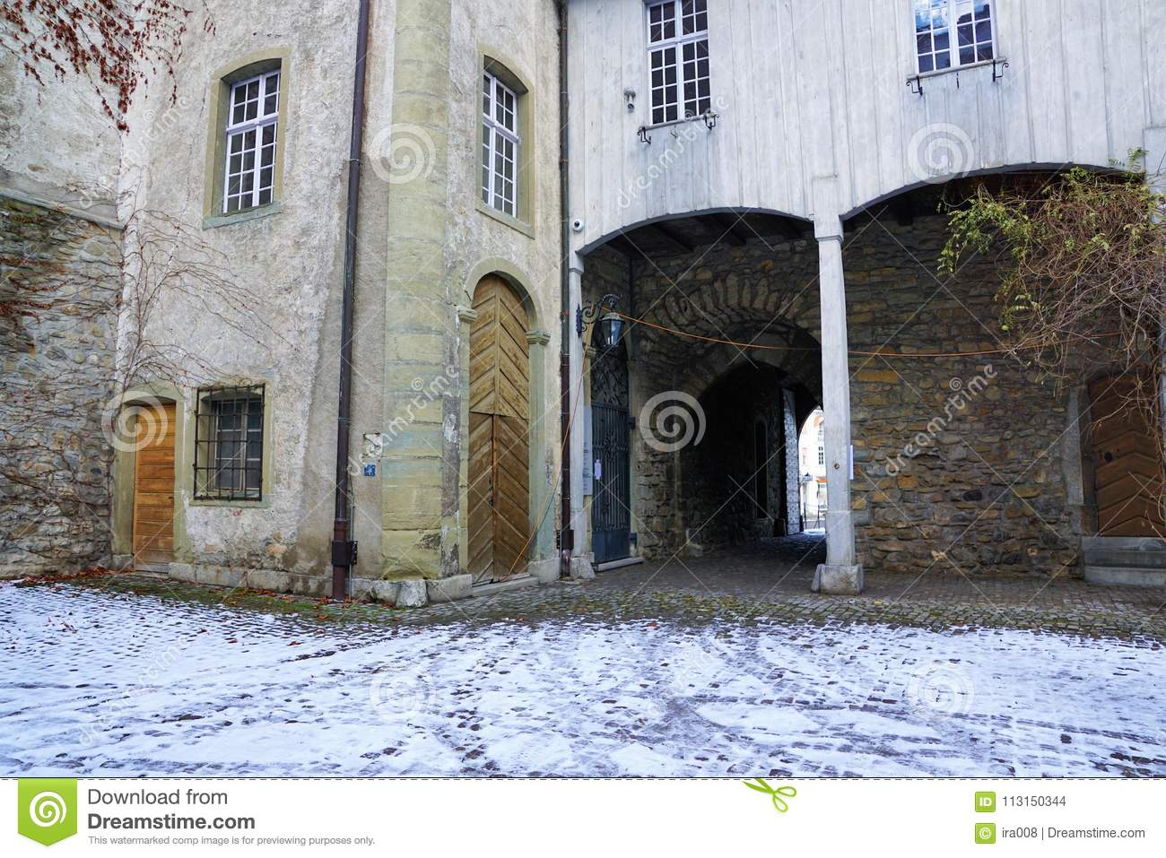Old castle in bulle in gruyere in south switzerland