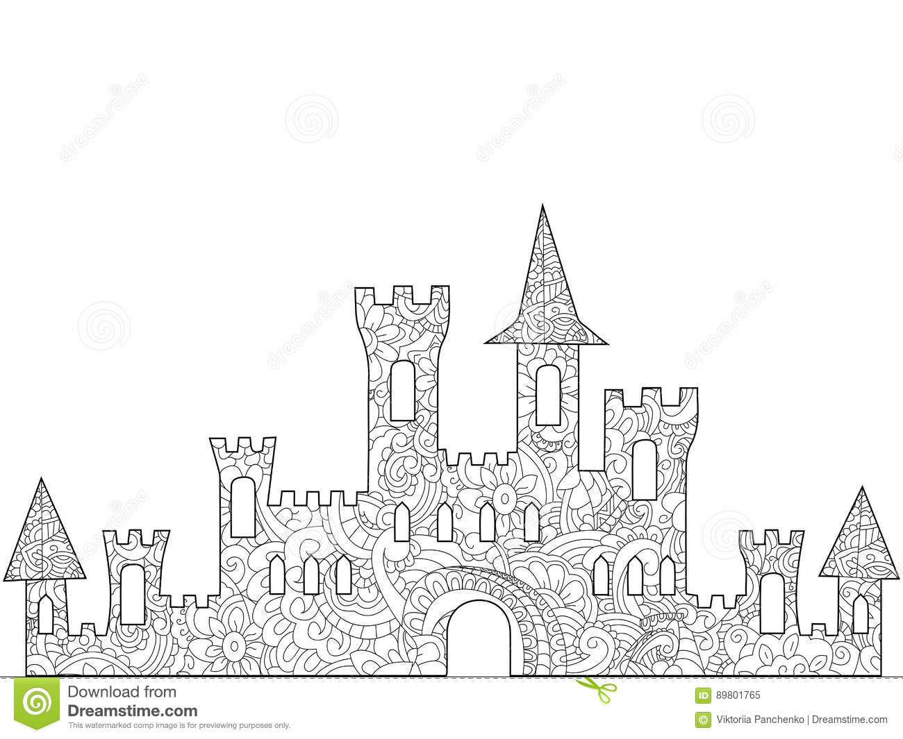 Old Castle Coloring Book For Adults Stock Vector - Illustration of ...