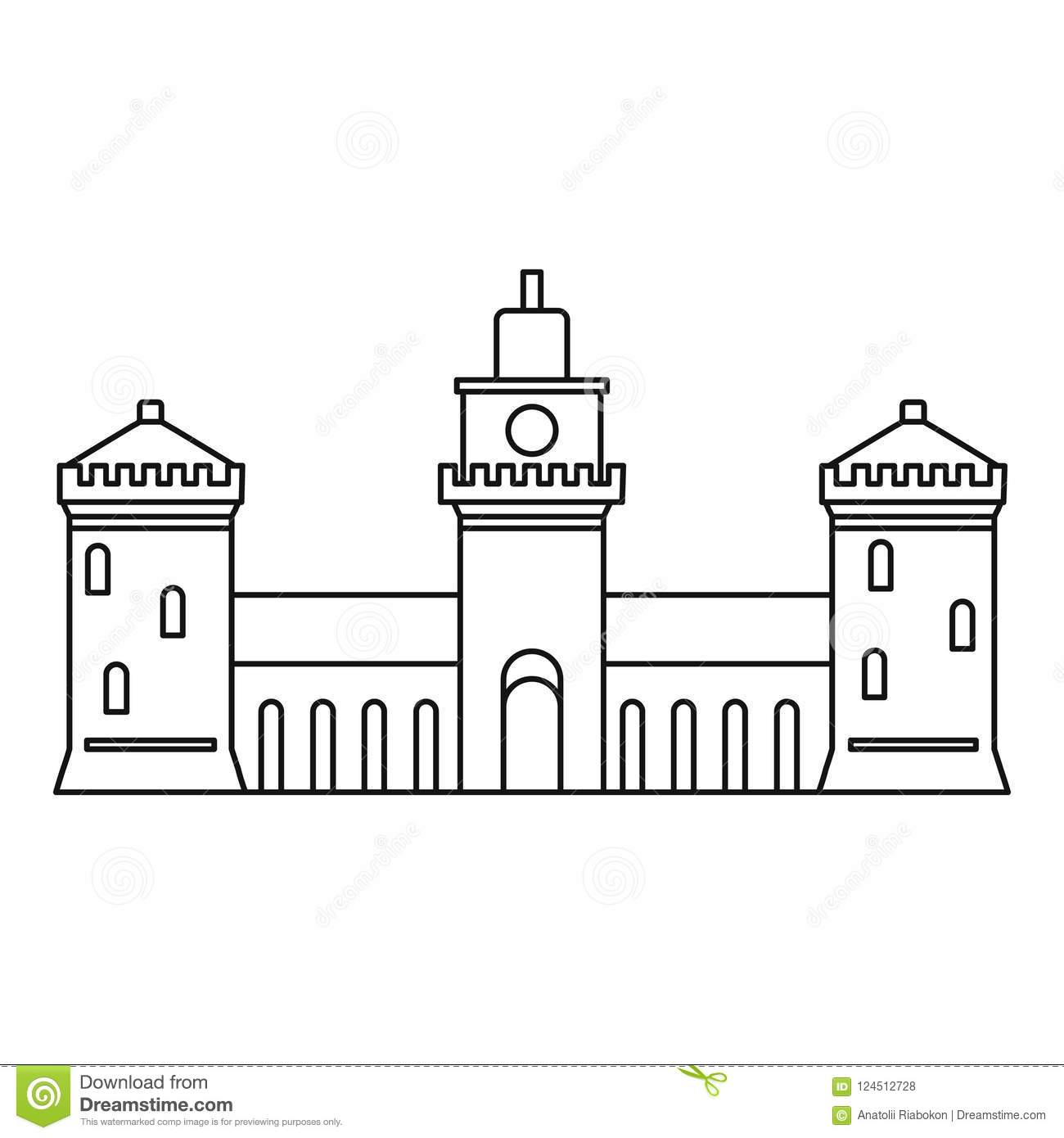 Old Castle Icon Outline Style