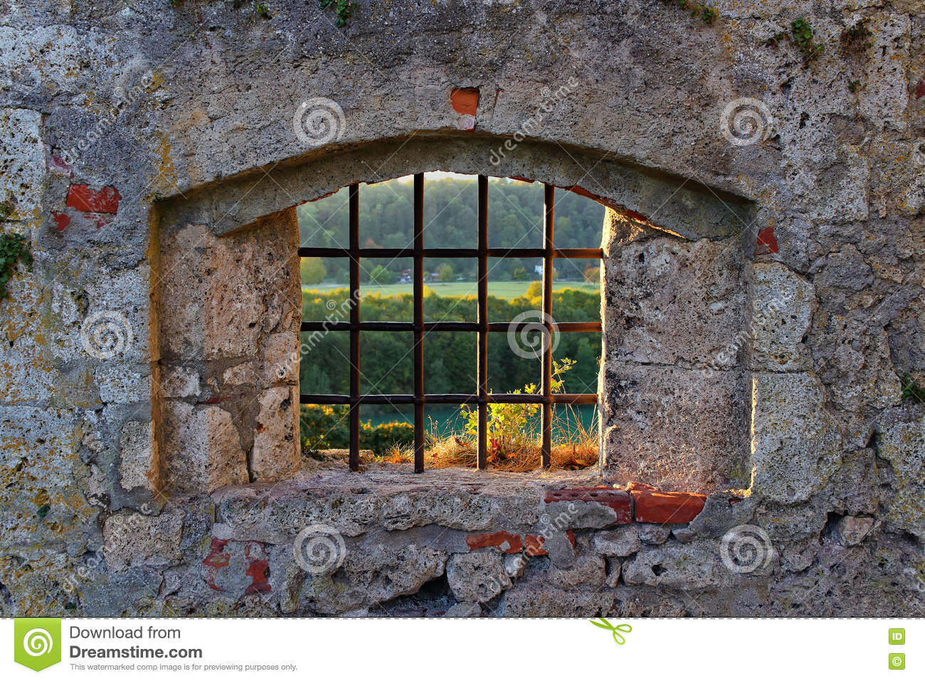 old castle lattice window with view stock photo image of historic